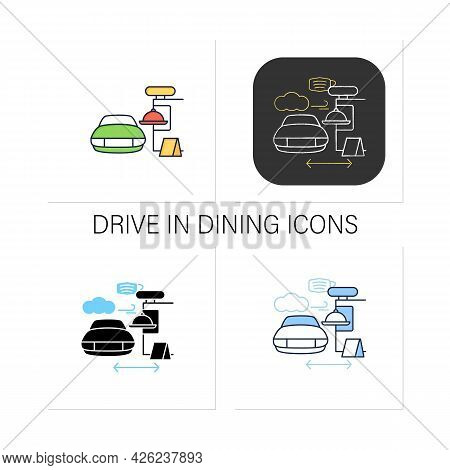 Drive In Dining Icons Set.food Ordering At Distance. Regulation Through Covid19. Restaurants New Nor