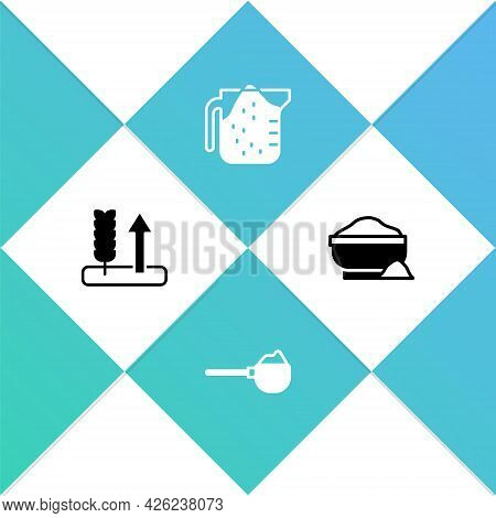 Set Wheat, Measuring Cup With Flour, And Flour Bowl Icon. Vector