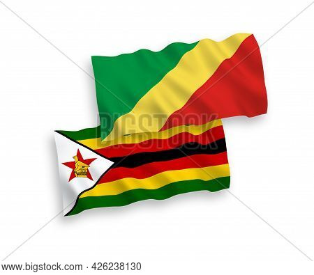 National Fabric Wave Flags Of Republic Of The Congo And Zimbabwe Isolated On White Background. 1 To