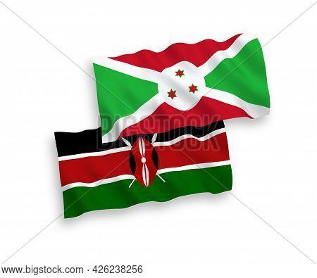 National Fabric Wave Flags Of Burundi And Kenya Isolated On White Background. 1 To 2 Proportion.