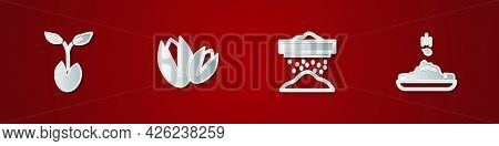 Set Sprout, Pistachio Nuts, Sifting Flour And Seed Icon. Vector