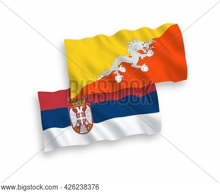 National Fabric Wave Flags Of Kingdom Of Bhutan And Serbia Isolated On White Background. 1 To 2 Prop
