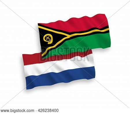 National Fabric Wave Flags Of Republic Of Vanuatu And Netherlands Isolated On White Background. 1 To