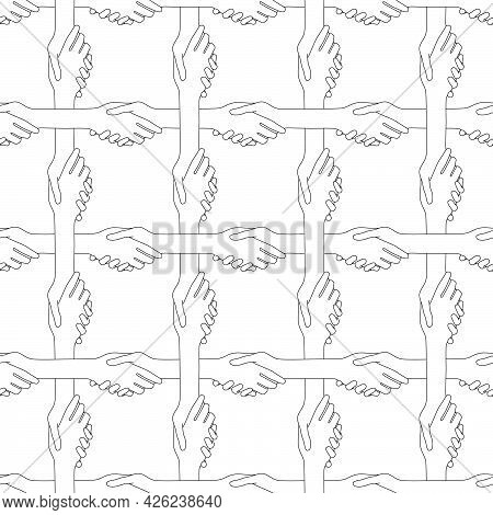 Handshake Seamless Pattern. Handshaking People Create A Network Of Communication And Friendship.