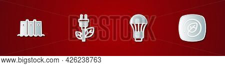Set Hydroelectric Dam, Electric Saving Plug In Leaf, Led Light Bulb And Location With Icon. Vector