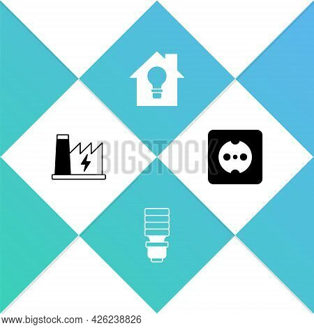 Set Nuclear Power Plant, Led Light Bulb, Smart House And And Electrical Outlet Icon. Vector