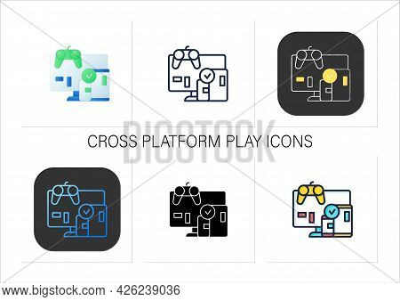 Cross Platform Play Icons Set. Platform For Playing Games. Testing. Trial. Special Technical Equipme