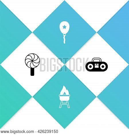 Set Lollipop, Barbecue Grill, Balloon With Ribbon And Home Stereo Two Speakers Icon. Vector