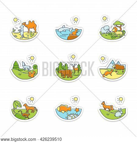 Biodiversity Stickers Icons. Desert, Temperate Forest, Taiga Forest, Freshwater Badge For Designs. B