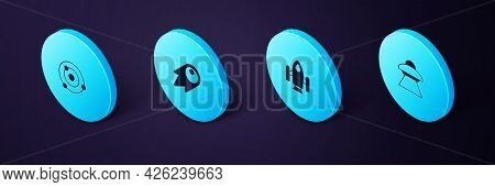Set Isometric Ufo Flying Spaceship, Rocket, Comet Falling Down Fast And Solar System Icon. Vector