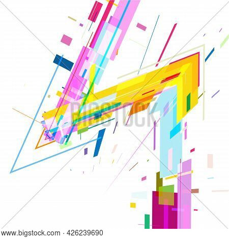 Zigzag Of Colored Geometric Shapes On White Background