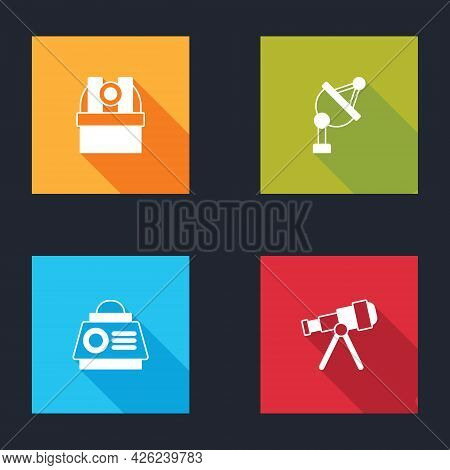 Set Astronomical Observatory, Satellite Dish, Space Capsule And Telescope Icon. Vector