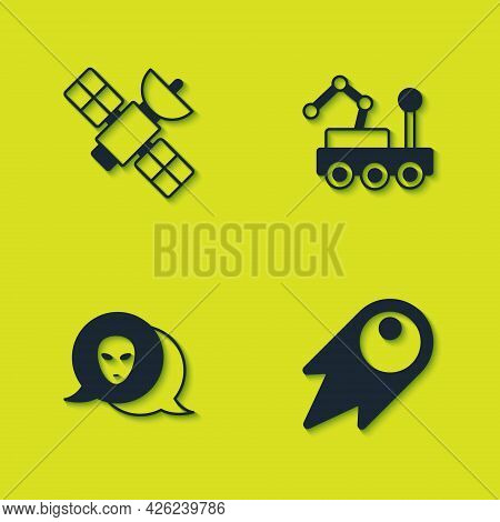 Set Satellite, Comet Falling Down Fast, Alien And Mars Rover Icon. Vector