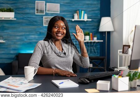 African American Woman Greeting University Collegue Discussing Maths Course During Online Videocall