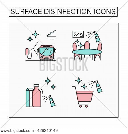 Surface Disinfection Color Icons Set. Disinfection At Public Spaces. Safety Space And Preventative M