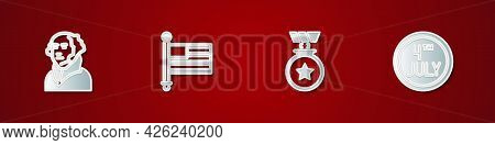 Set George Washington, American Flag, Medal With Star And Calendar Date July 4 Icon. Vector