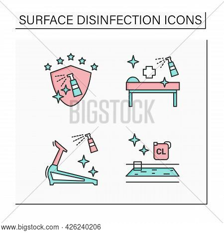 Surface Disinfection Color Icons Set. Disinfection At Public Spaces, Swimming Pool, Gym. Safety Spac