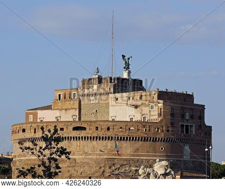 Rome, Rm, Italy - August 15, 2020: Monument Called Castel Saint Angel And Statue Of Top