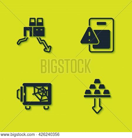 Set Shutdown Of Factory, Gold Bars, Safe And Global Economic Crisis Icon. Vector