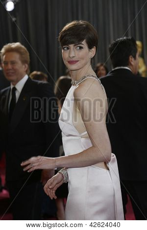 LOS ANGELES, CA - FEB 24: Anne Hathaway at the 85th Annual Academy Awards on February 24, 2013 in Los Angeles, California