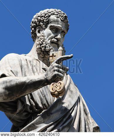 Vatican City, Va, Vatican - August 16, 2020: Statue Of Saint Peter With Key Of Heaven And Blue Sky I