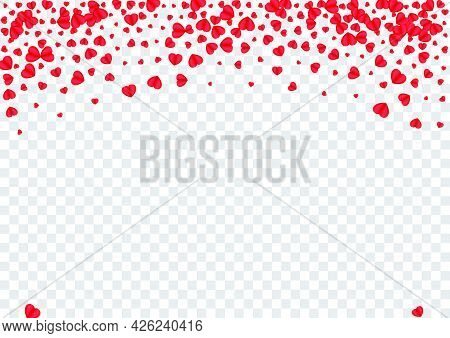 Violet Confetti Background Transparent Vector. Day Frame Heart. Tender Falling Pattern. Fond Confett