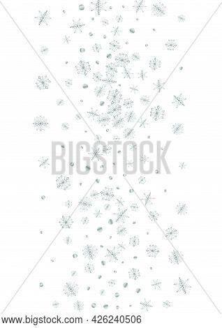 Silver Dot Background White Vector. Snow Ice Texture. Luminous Snowflake Isolated. Grey Drop Illustr