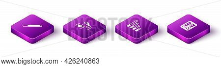 Set Isometric Cigarette, Hypnosis, Smoking Cigarette And Nicotine Gum Blister Pack Icon. Vector