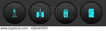 Set Cigarette Butt, Lungs, Trash Can And No Smoking Area Icon. Vector