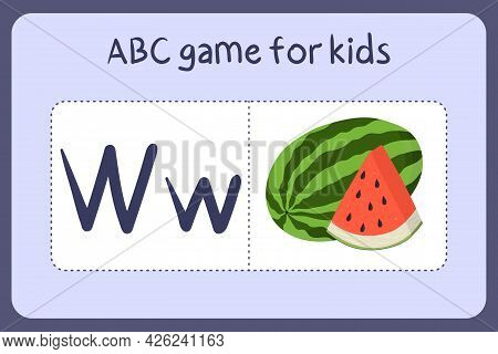 Kid Alphabet Mini Games In Cartoon Style With Letter W - Watermelon . Vector Illustration For Game D