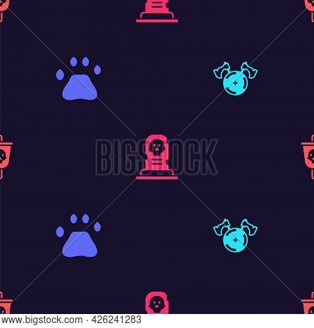 Set Medieval Shield With Axe, Bear Paw Footprint, Grave Tombstone And Pirate Flag On Seamless Patter