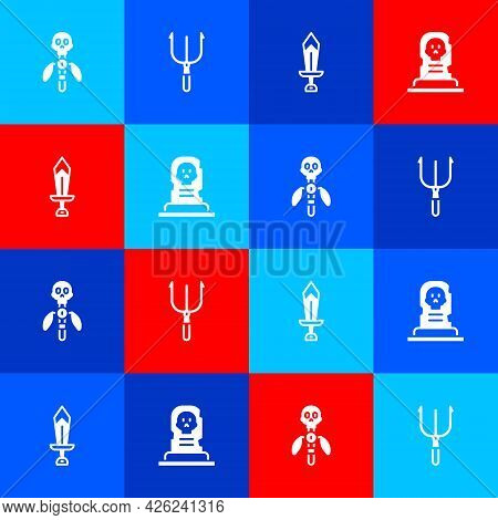 Set Magic Staff, Neptune Trident, Sword For Game And Grave With Tombstone Icon. Vector