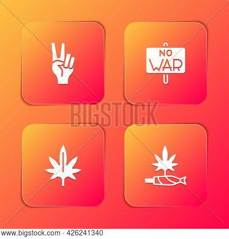 Set Peace Symbol, No War, Marijuana And Joint, Spliff Icon. Vector