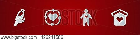 Set Donation Water, Volunteer, And Shelter For Homeless Icon. Vector