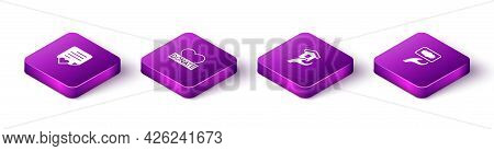 Set Isometric Envelope With Heart, Donation And Charity, Shelter For Homeless And Icon. Vector