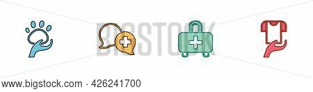Set Animal Volunteer, Dialogue With Doctor, First Aid Kit And Clothes Donation Icon. Vector