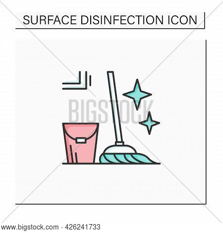 Mopping Color Icon. Bucket And Mop Sparkling With Tidiness Linear Pictogram. Concept Of Floor Cleani