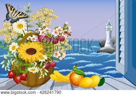 Seascape In An Open Window.basket With Flowers, Fruits And Seascape From The Window In Color Vector