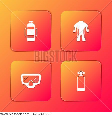 Set Aqualung, Wetsuit For Scuba Diving, Diving Mask And Icon. Vector