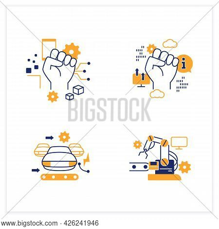 Digital Transformation Flat Icons Set.industry 3.0, Industry 2.0, Information Revolution, Cyber Revo