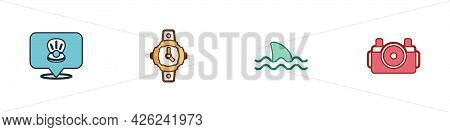 Set Scallop Sea Shell, Diving Watch, Shark And Photo Camera For Diver Icon. Vector
