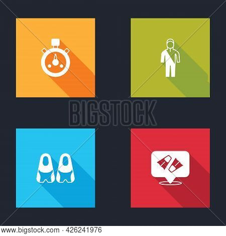 Set Stopwatch, Wetsuit For Scuba Diving, Flippers Swimming And Icon. Vector