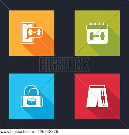 Set Fitness App, Calendar Fitness, Sport Bag And Short Pants Icon. Vector