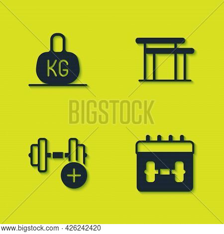Set Weight, Calendar Fitness, Dumbbell And Uneven Bars Icon. Vector