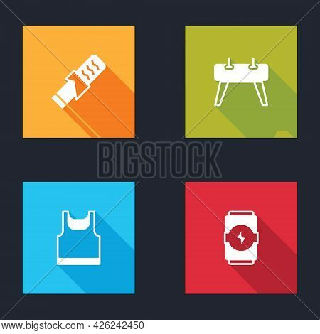Set Protein Sport Bar, Pommel Horse, Sleeveless T-shirt And Energy Drink Icon. Vector