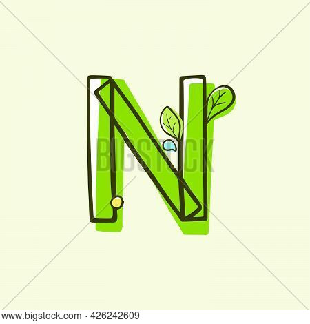 Eco Style Letter N Logo Hand-drawn With A Marker With Paint Shift Effect. Vector Cartoon Typeface Fo