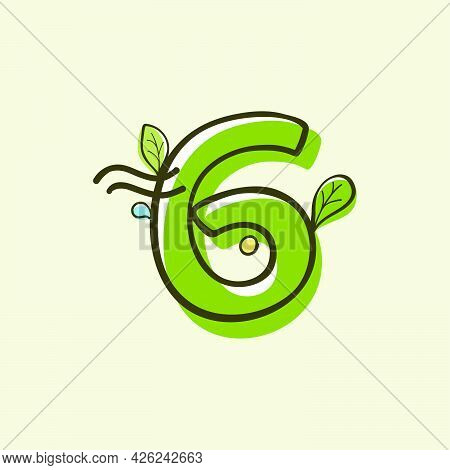 Eco Style Number Six Logo Hand-drawn With A Marker With Paint Shift Effect. Vector Cartoon Typeface