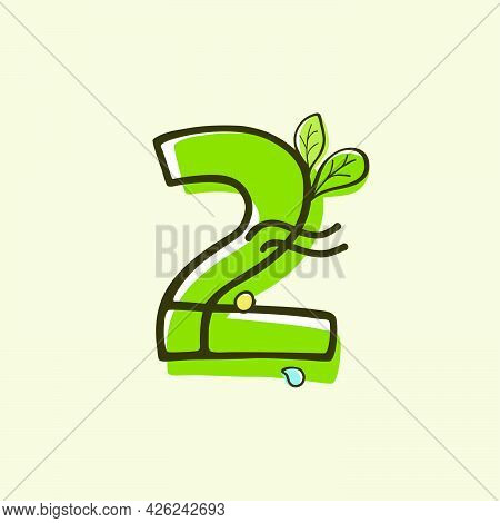 Eco Style Number Two Logo Hand-drawn With A Marker With Paint Shift Effect. Vector Cartoon Typeface