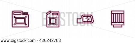 Set Line Canister For Motor Oil, Car Mirror, Gasoline And Air Filter Icon. Vector