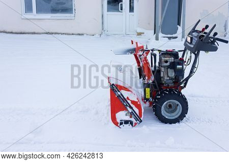 Cheboksary, Russia-january 20 2021:snow Removal With Husqvarna St276ep. Snow Removal With Snowplow.a